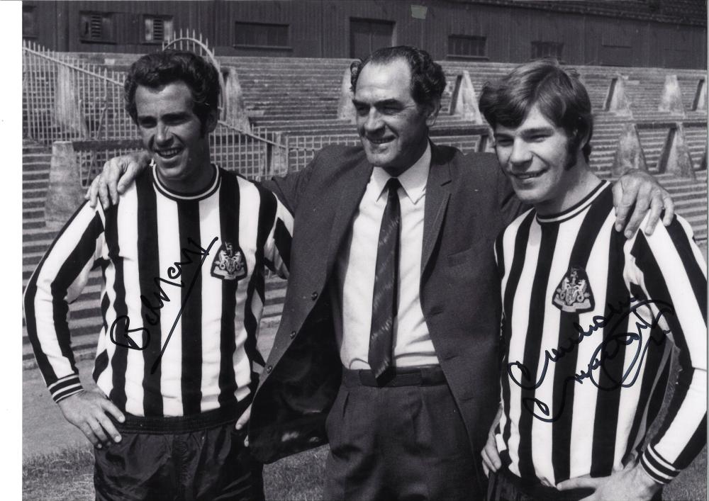 Football Bobby Moncur and Malcom Macdonald signed 12x16 b/w photo pictured in Newcastle United