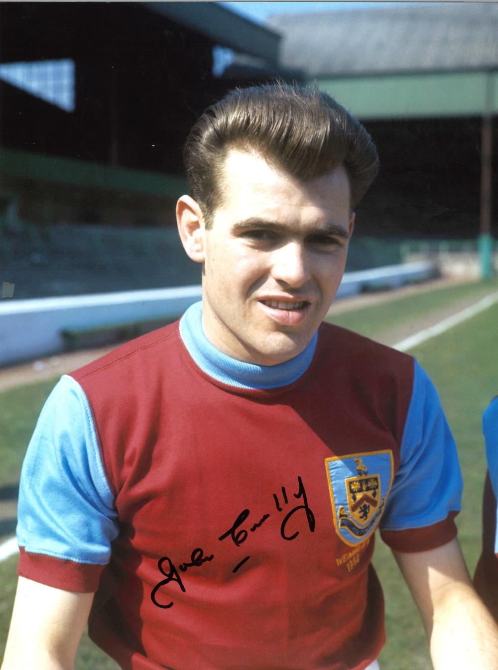 Football John Connelly 16x12 signed colour photo pictured in Burnley kit in 1962. Good condition