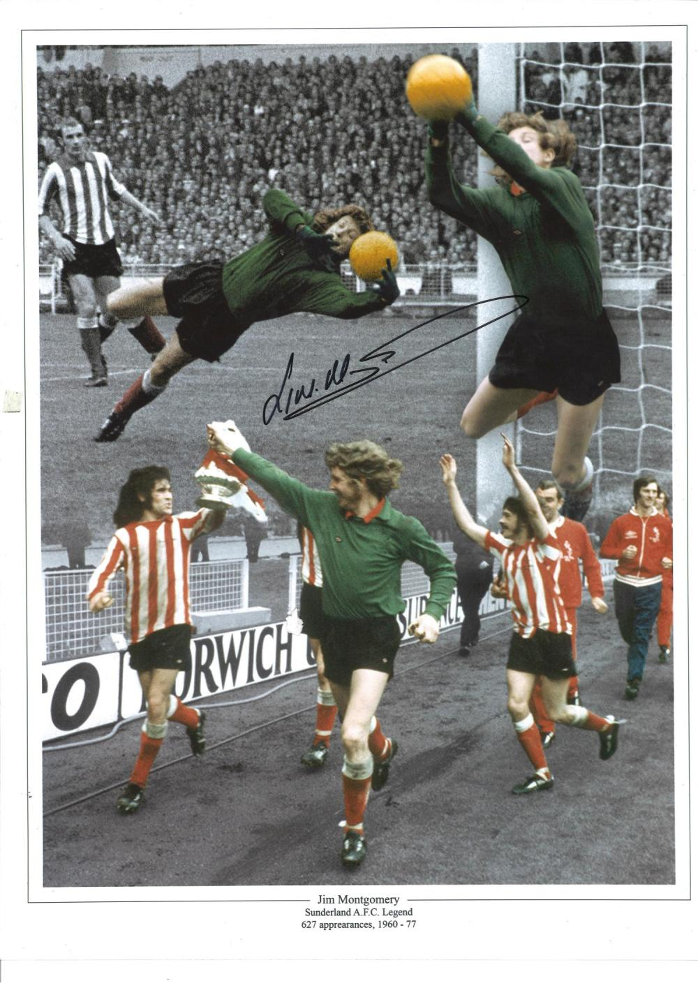 Football Jim Montgomery signed 16x12 colour enhanced montage photo Sunderland legend pictured making