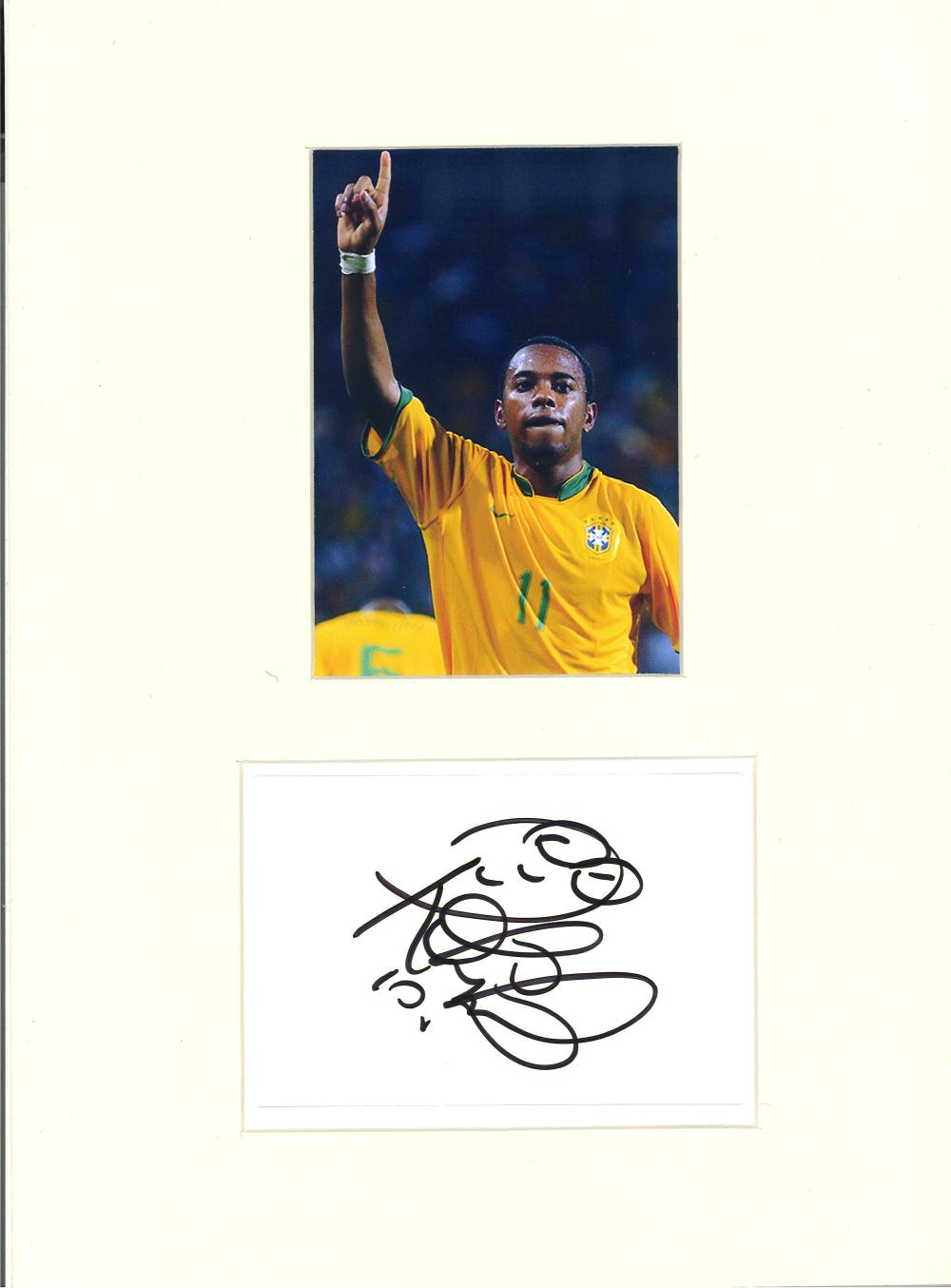 Football Robinho signed 16x12 mounted signature piece and colour photo pictured in action for