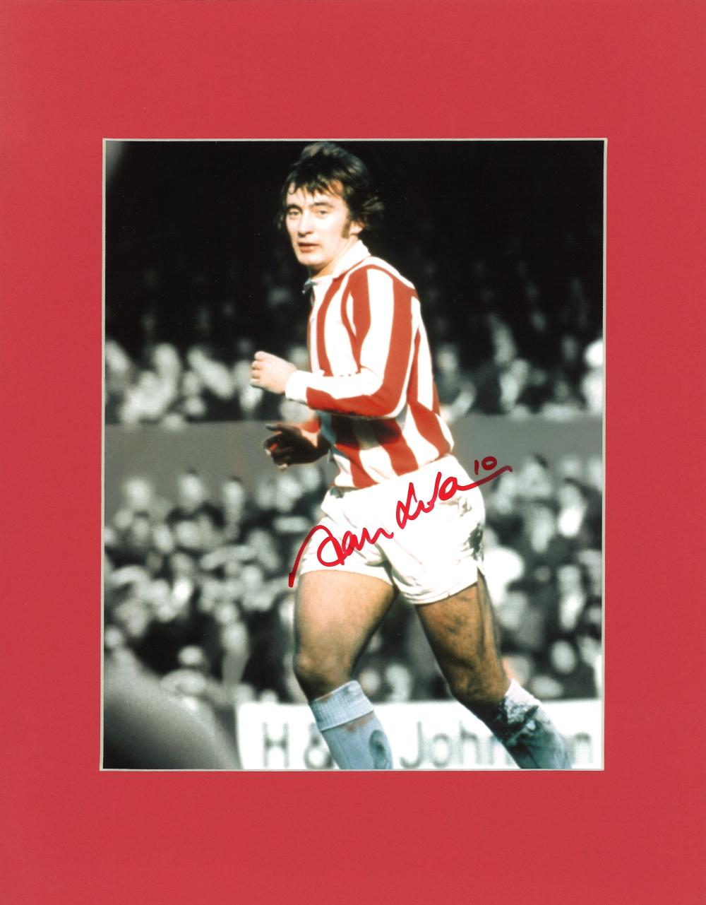 Football Alan Hudson signed 14x11 mounted colour photo pictured during his spell with Stroke City.