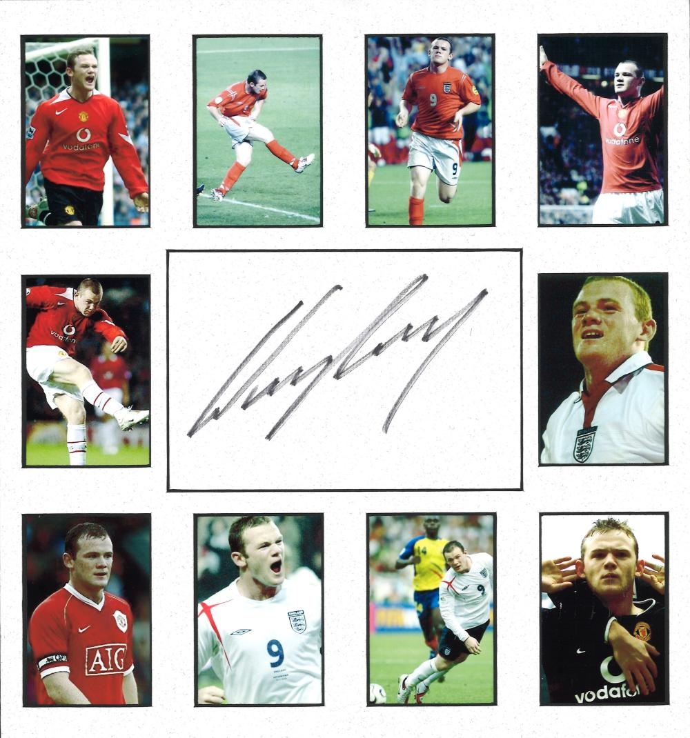 Football Wayne Rooney signed 13x12 mounted signature piece includes 10 colour photos and a signed