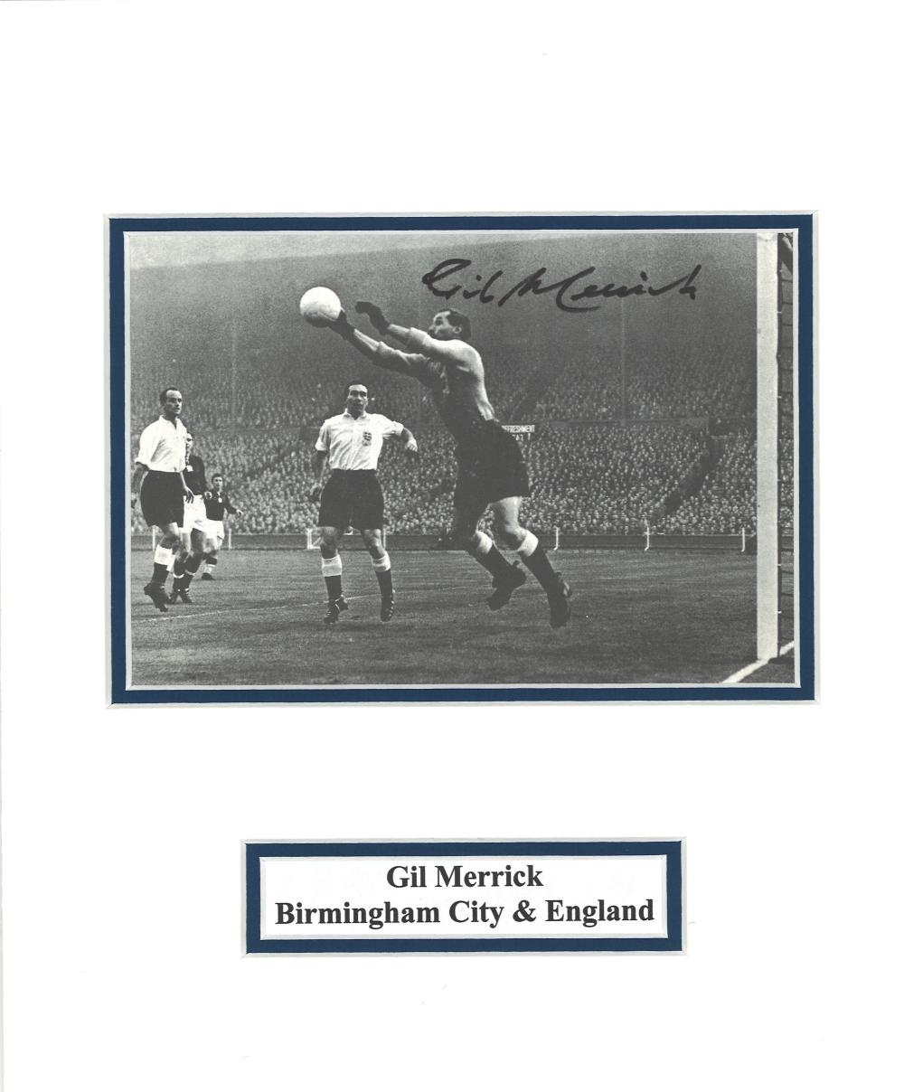 Football Gill Merrick signed 12x10 mounted b/w photo pictured in action for England. Gilbert