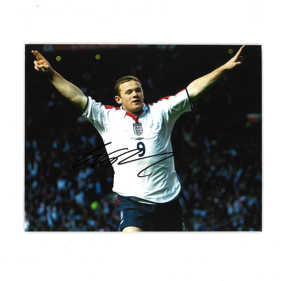 Football Wayne Rooney signed 10x12 mounted colour photo pictured celebrating while playing for