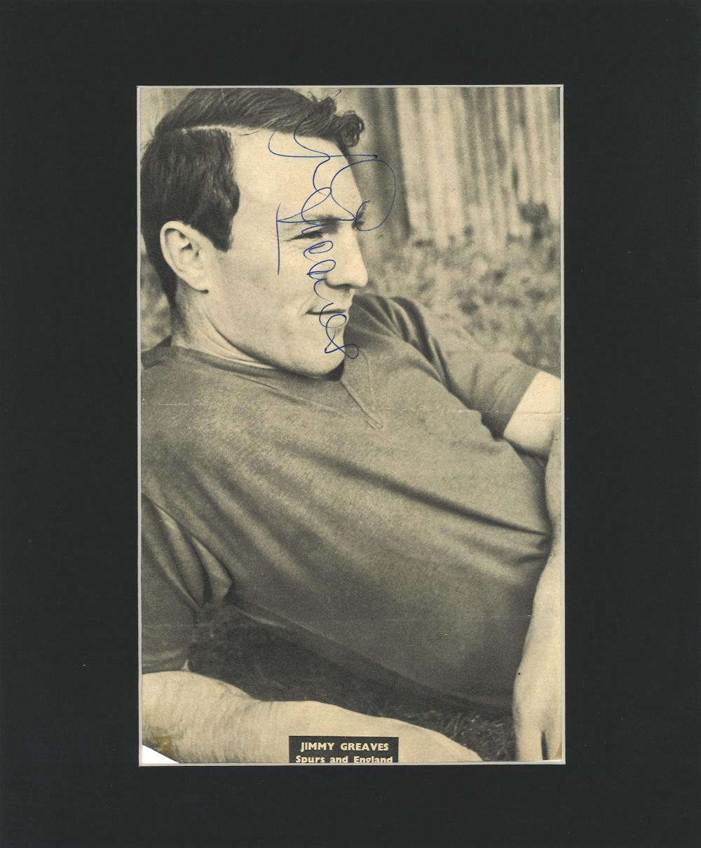 Football Jimmy Greaves signed 12x10 mounted b/w magazine photo. James Peter Greaves (born 20