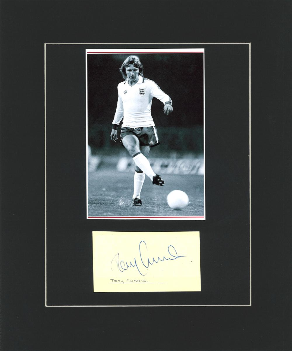 Football Tony Currie 12x10 mounted signature piece includes b/w photo while playing for England