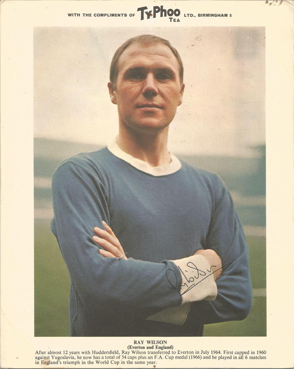 Football Ray Wilson signed 10x8 Typhoo Tea colour photo pictured in Everson Kit. Ramon Wilson,