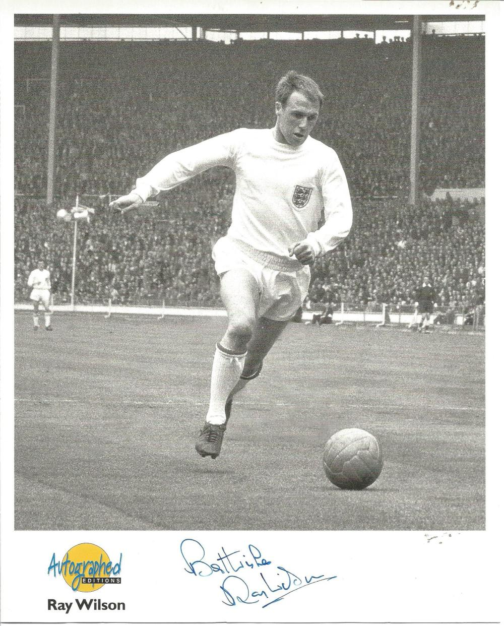 Football Ray Wilson signed 10x8 Autographed edition b/w photo pictured in action for England. Good