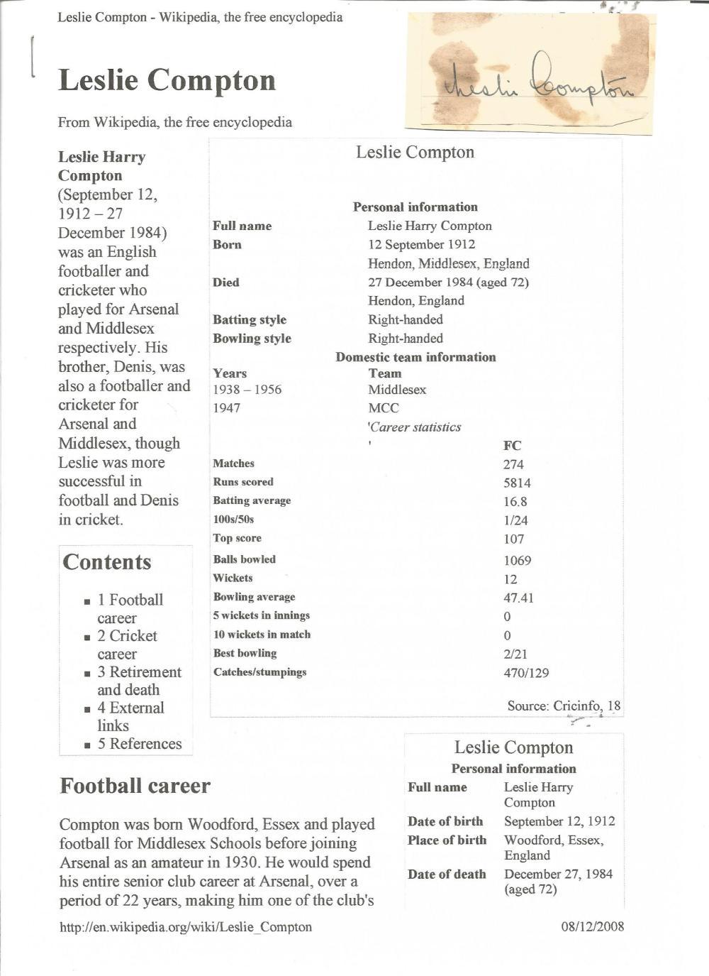 Cricket Les Compton signed 3x2 vintage album page. Leslie Harry Compton (12 September 1912 - 27