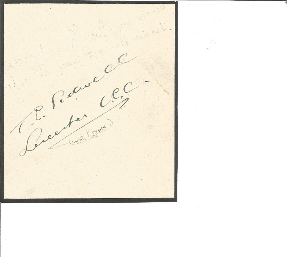 Cricket Tom Sidwell signed vintage 5x4 album page. Thomas Edgar Sidwell (30 January 1888 - 8