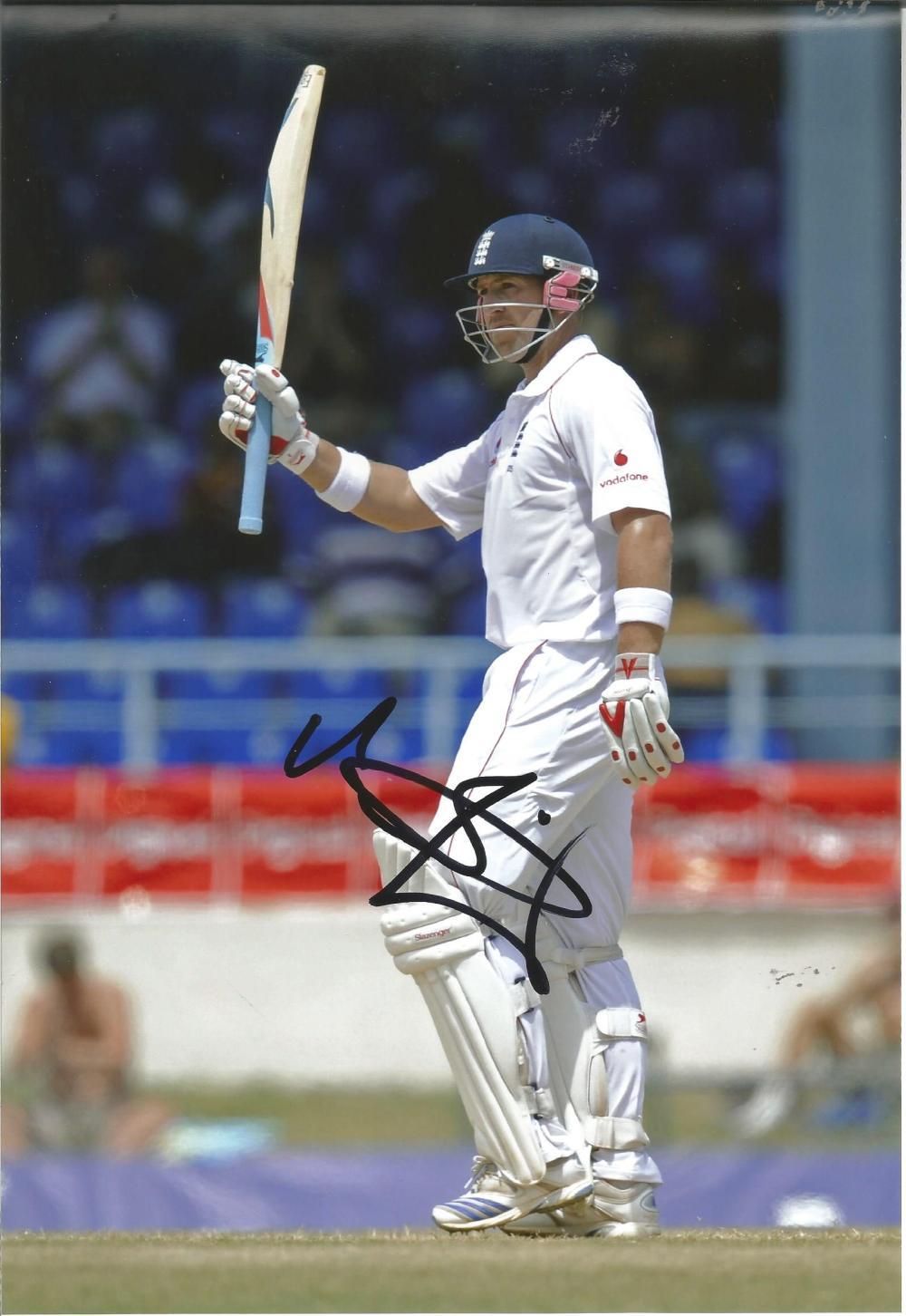 "Cricket Matt Prior 12x8 signed colour photo pictured playing for England. Matthew James """"Matt"""" Prior"