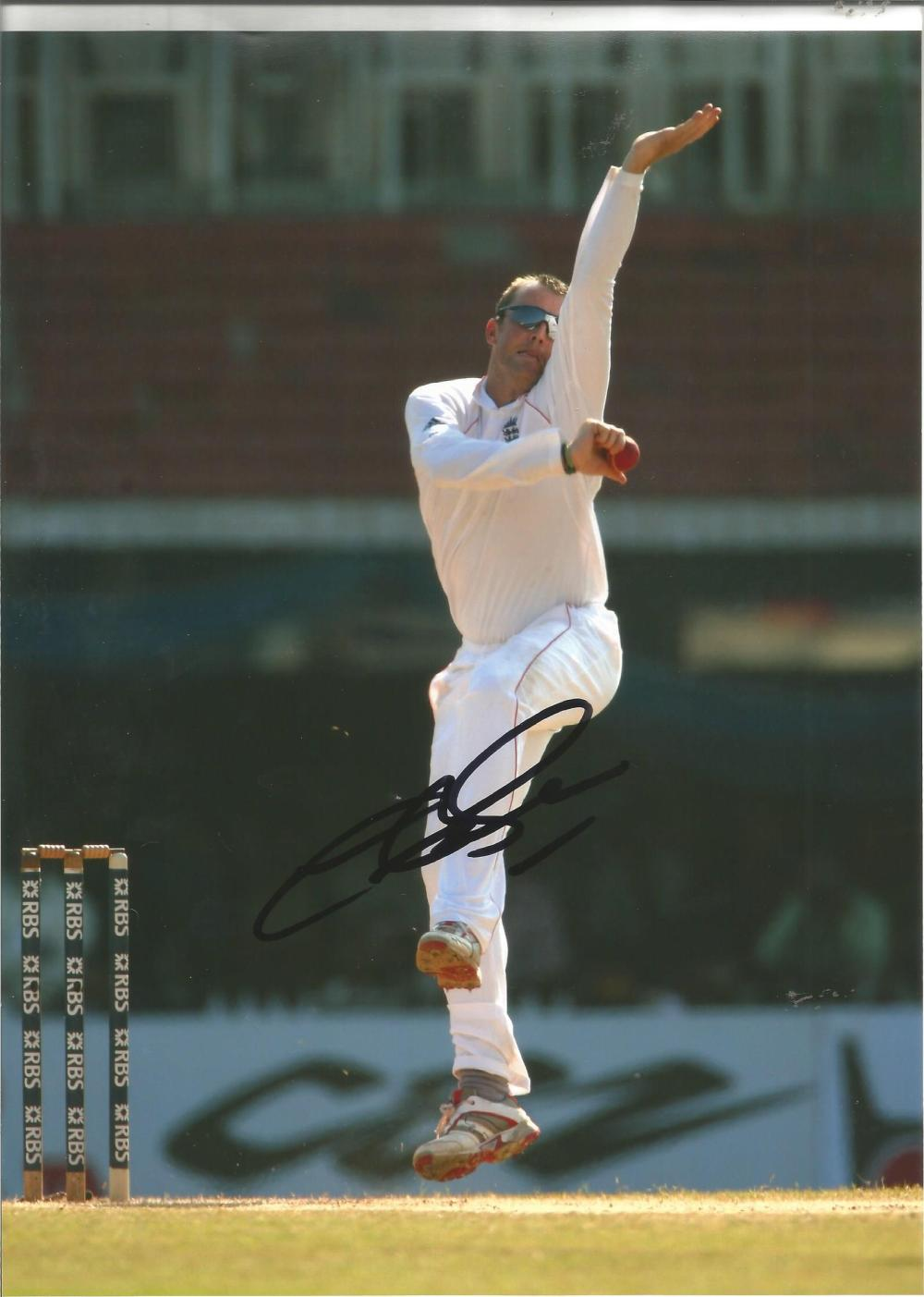 Cricket Graeme Swann 12x8 signed colour photo pictured bowling for England. Graeme Peter Swann (born