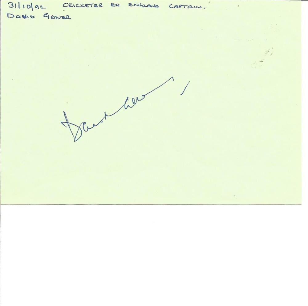 Cricket David Gower 6x4 signed album page. David Ivon Gower OBE (born 1 April 1957) is a British