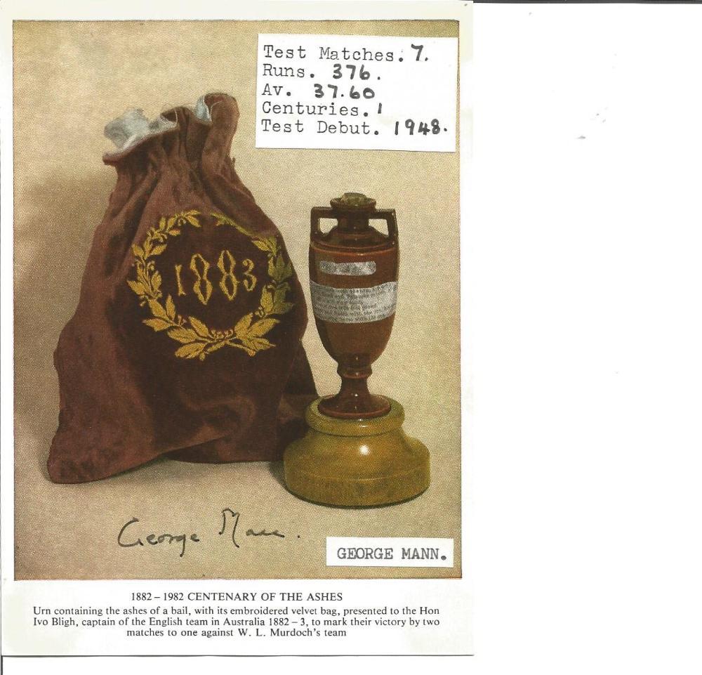 Cricket George Mann 6x4 signed ashes centenary card. Francis George Mann, CBE, DSO, MC (6