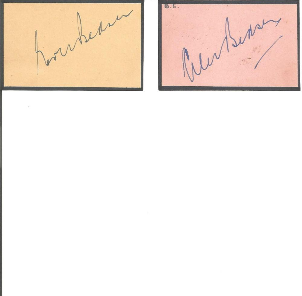 Cricket Alec and Eric Bedser signature piece 2, 5x2 signed album pages. Sir Alec Victor Bedser