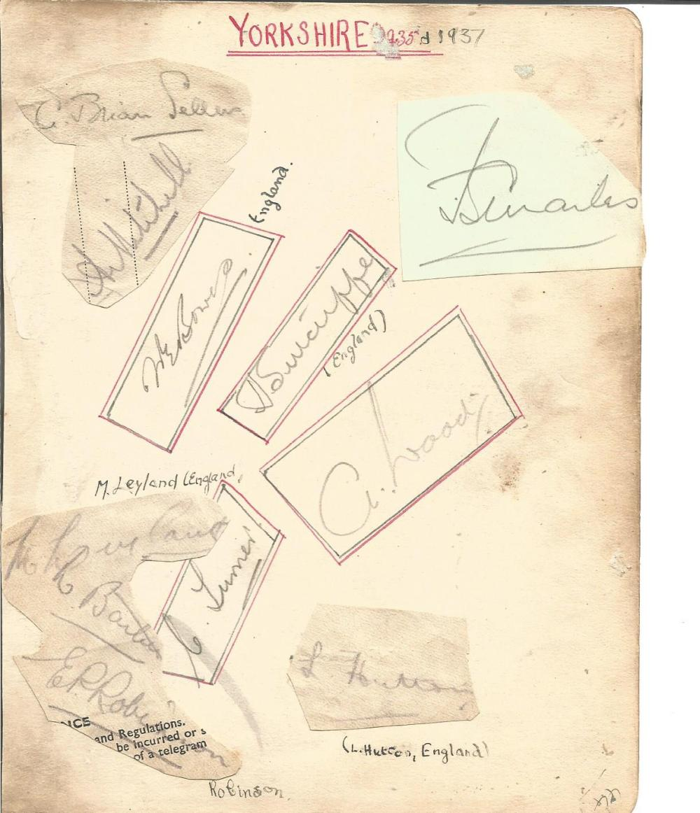 Cricket Yorkshire C. C. C 1937 signature piece 7x6 album page signed by 11 players includes