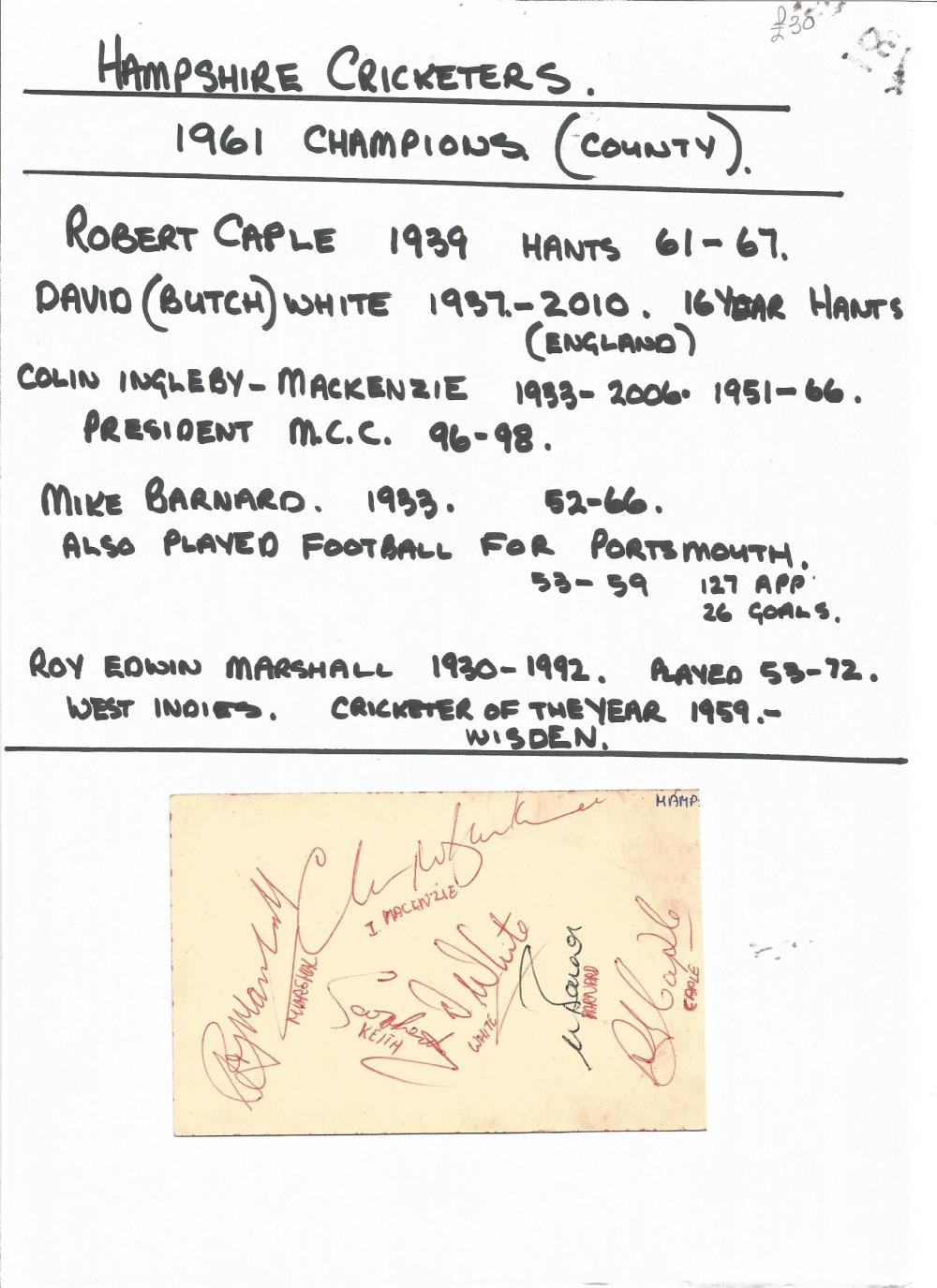 Cricket Hampshire 1961 county Champions signature piece 2no 5x3 album page signed by Robert Caple,