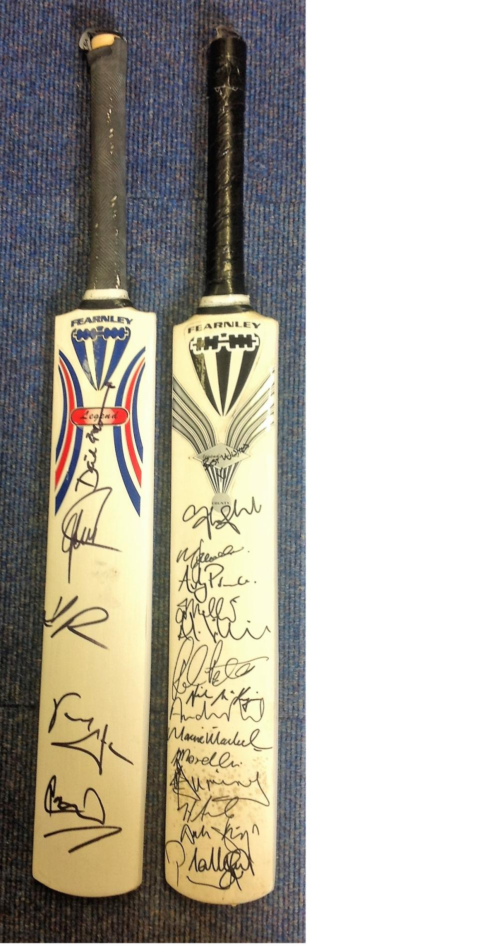 Cricket 2 full size Duncan Fearnley Bats signed by 19 county and international players while playing