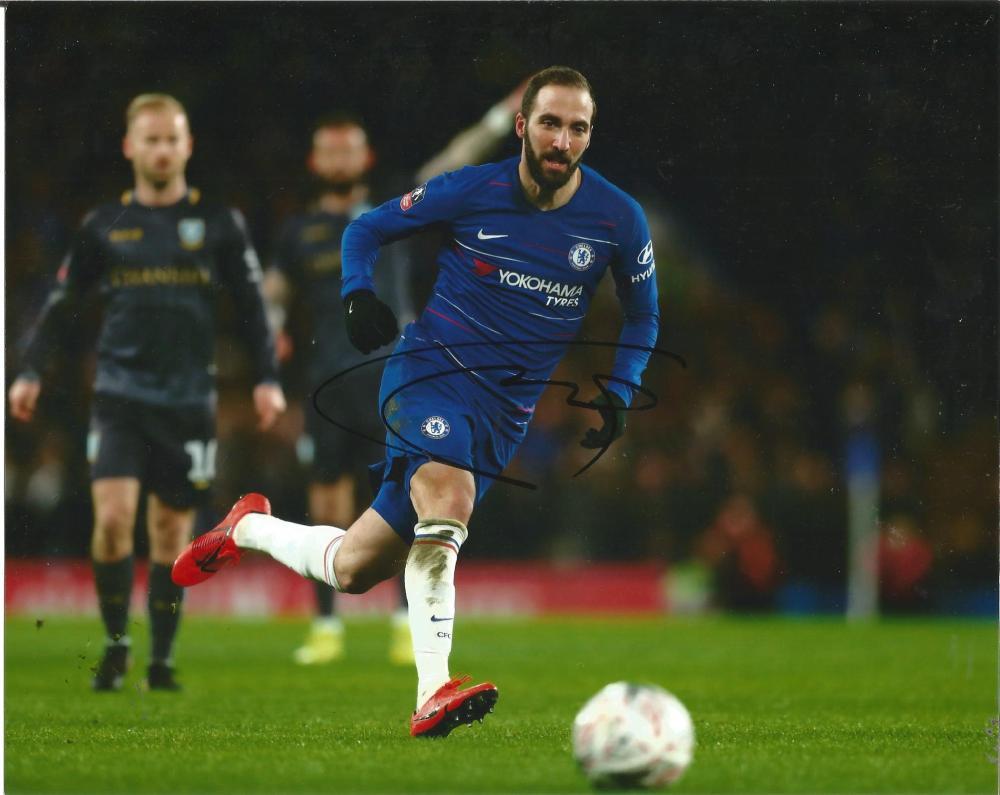 Gonzalo Higuain Signed Chelsea 8x10 Photo. Good Condition Est.