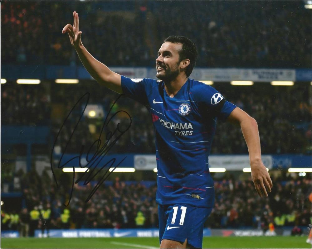 Pedro Signed Chelsea 8x10 Photo. Good Condition Est.
