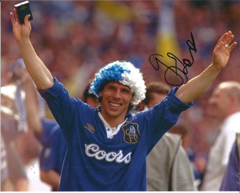 Gianfranco Zola Signed Chelsea 8x10 Photo. Good Condition Est.