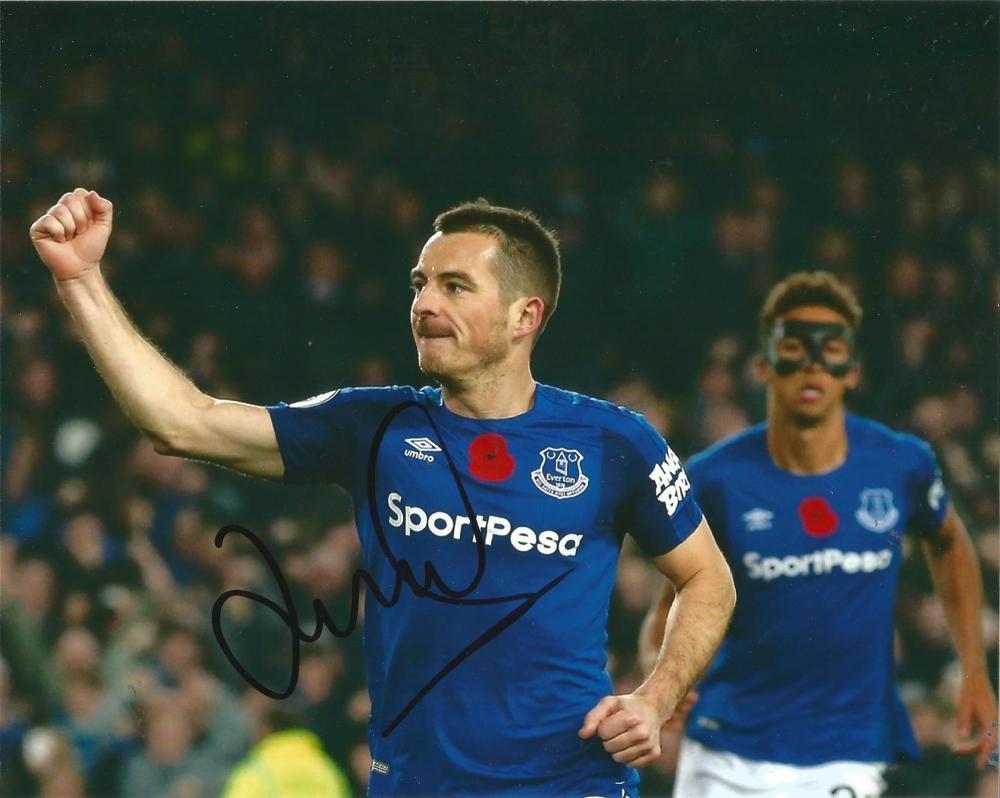 Leighton Baines Signed Everton 8x10 Photo. Good Condition Est.