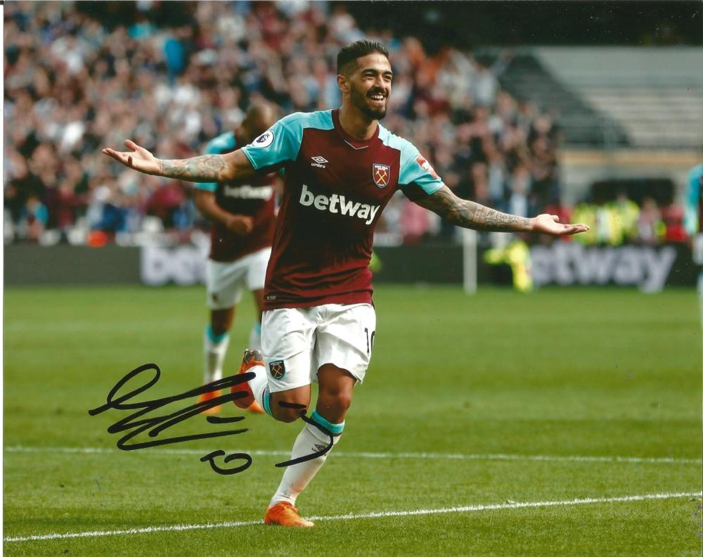Manuel Lanzini Signed West Ham United 8x10 Photo. Good Condition Est.
