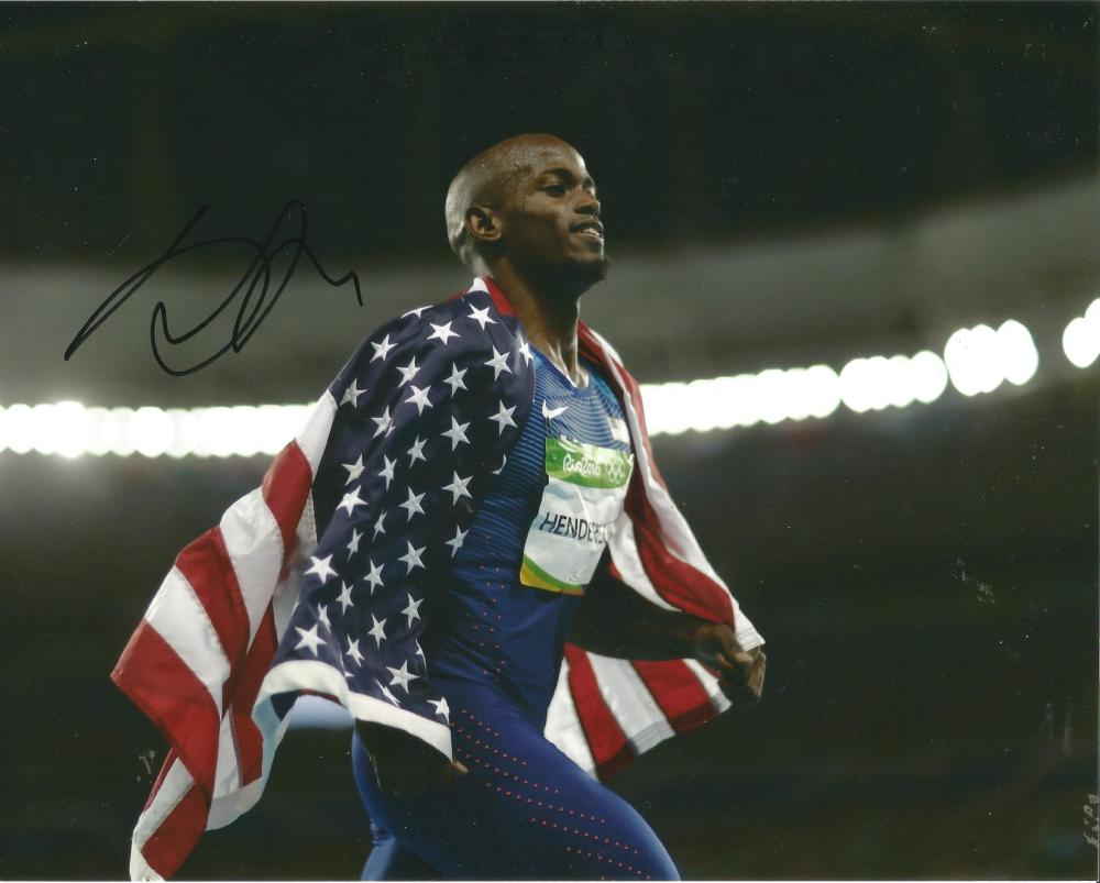 Jeff Henderson Signed Rio 2016 Olympics Athletics 8x10 Photo. Good Condition Est.