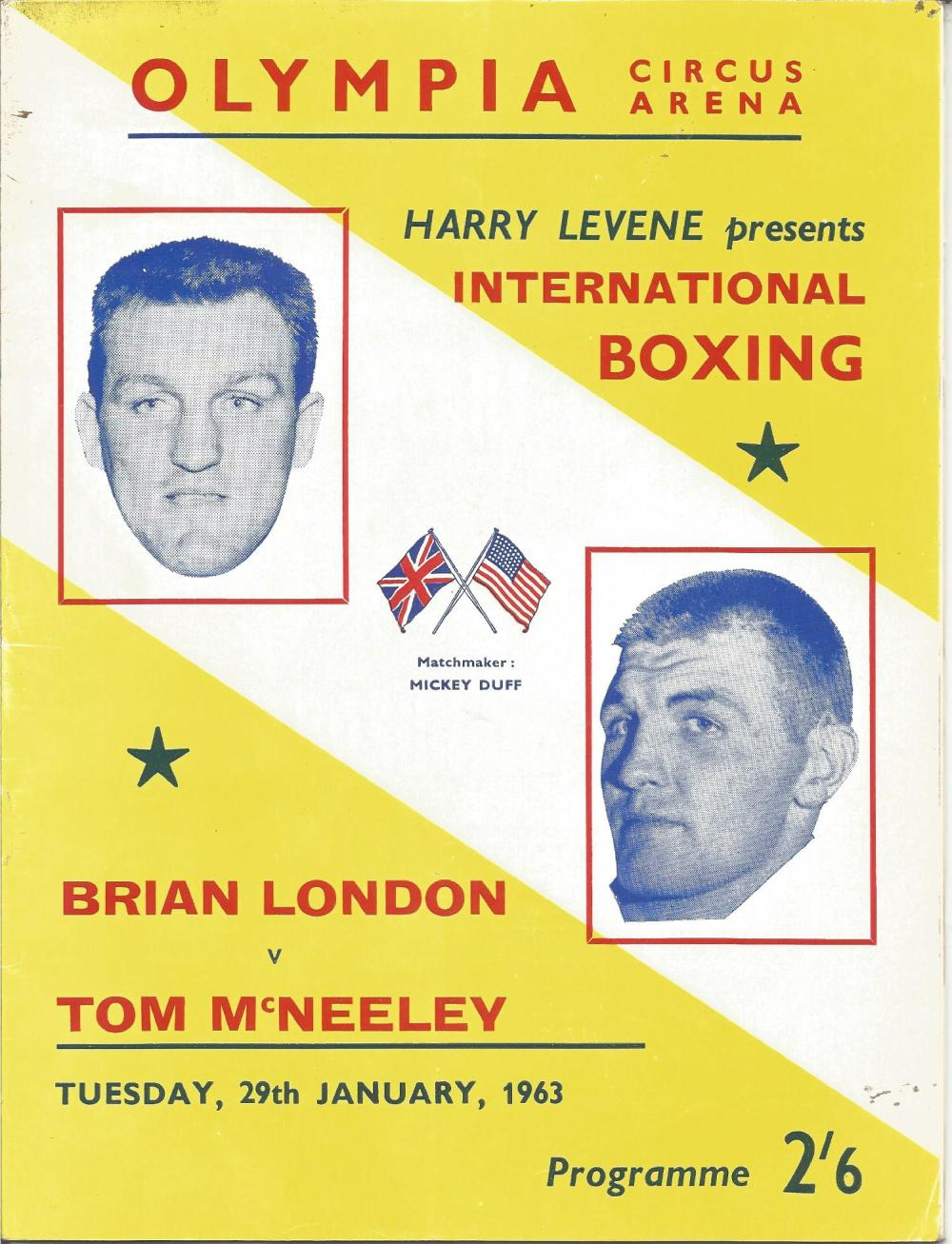 Boxing Brian London v Tom McNeeley vintage fight programme Olympia Circus Arena Tuesday 29th January