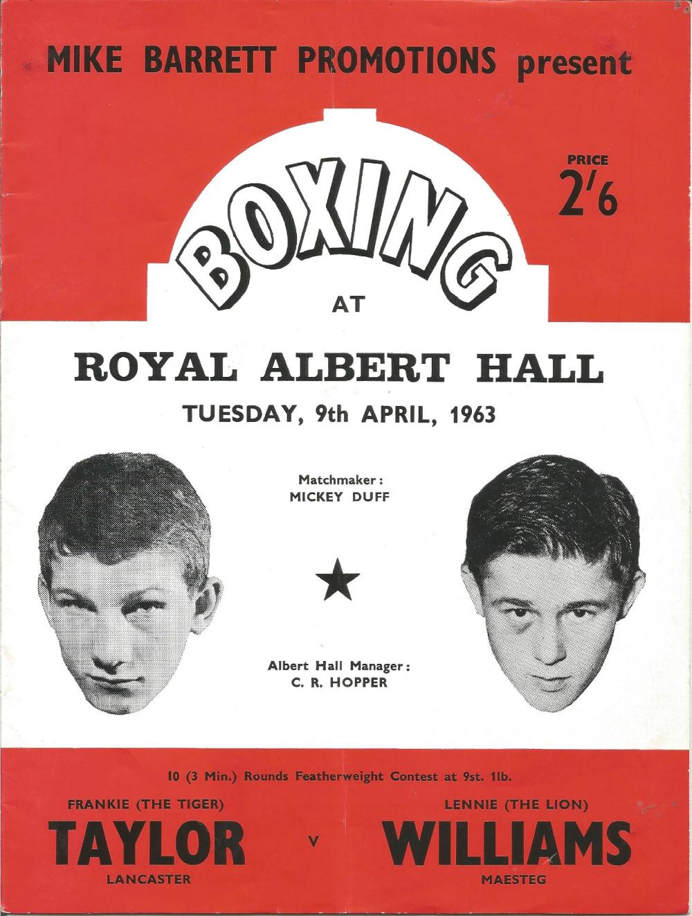 Boxing Frankie Taylor v Lennie Williams vintage fight programme Royal Albert Hall 9th April 1963.