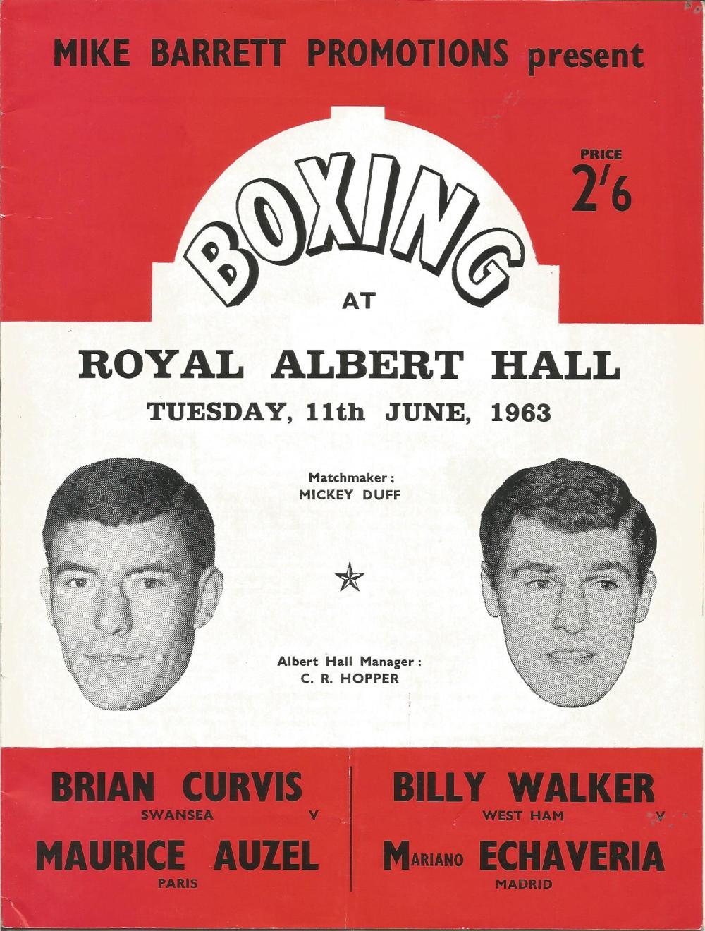 Boxing Billy Walker v Mariano Echaveria vintage fight programme Royal Albert Hall 11th June 1963.