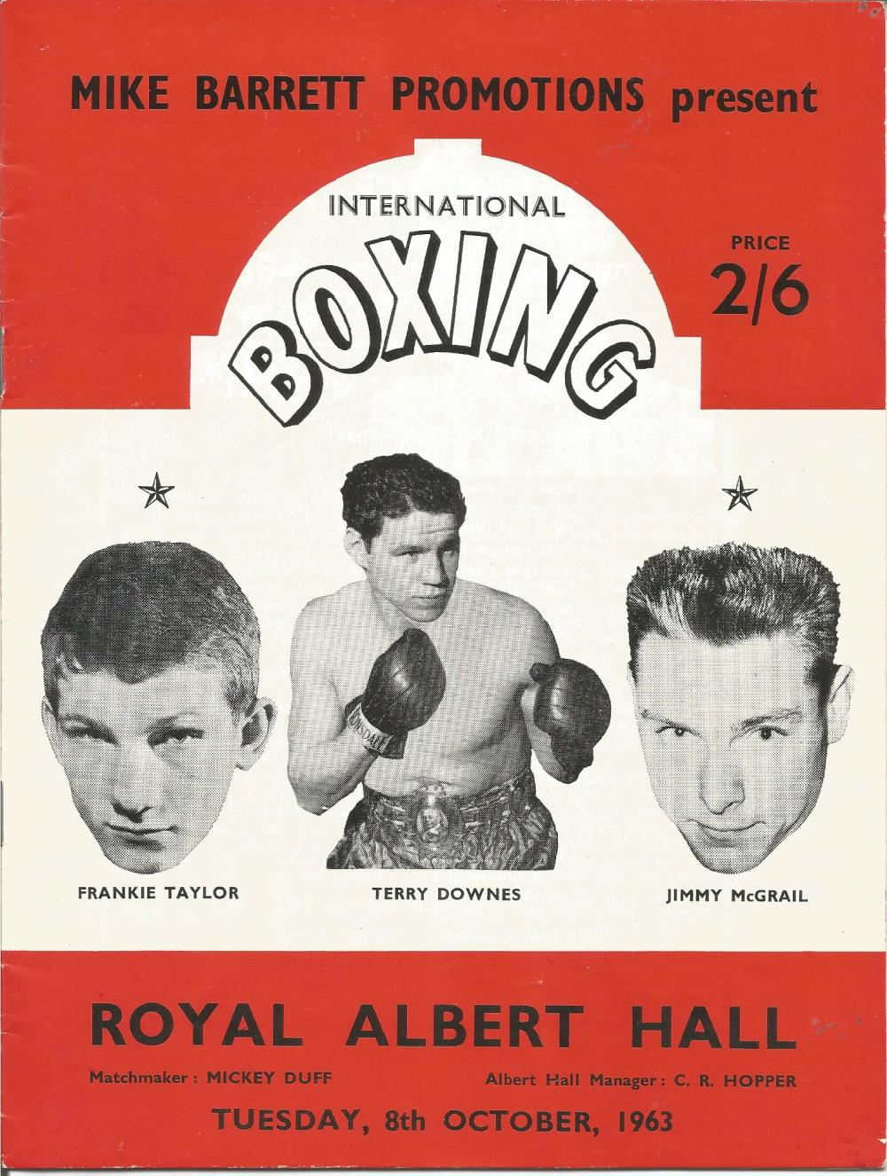 Boxing Frankie Taylor, Terry Downes and Jimmy McGrail vintage fight programme Royal Albert Hall