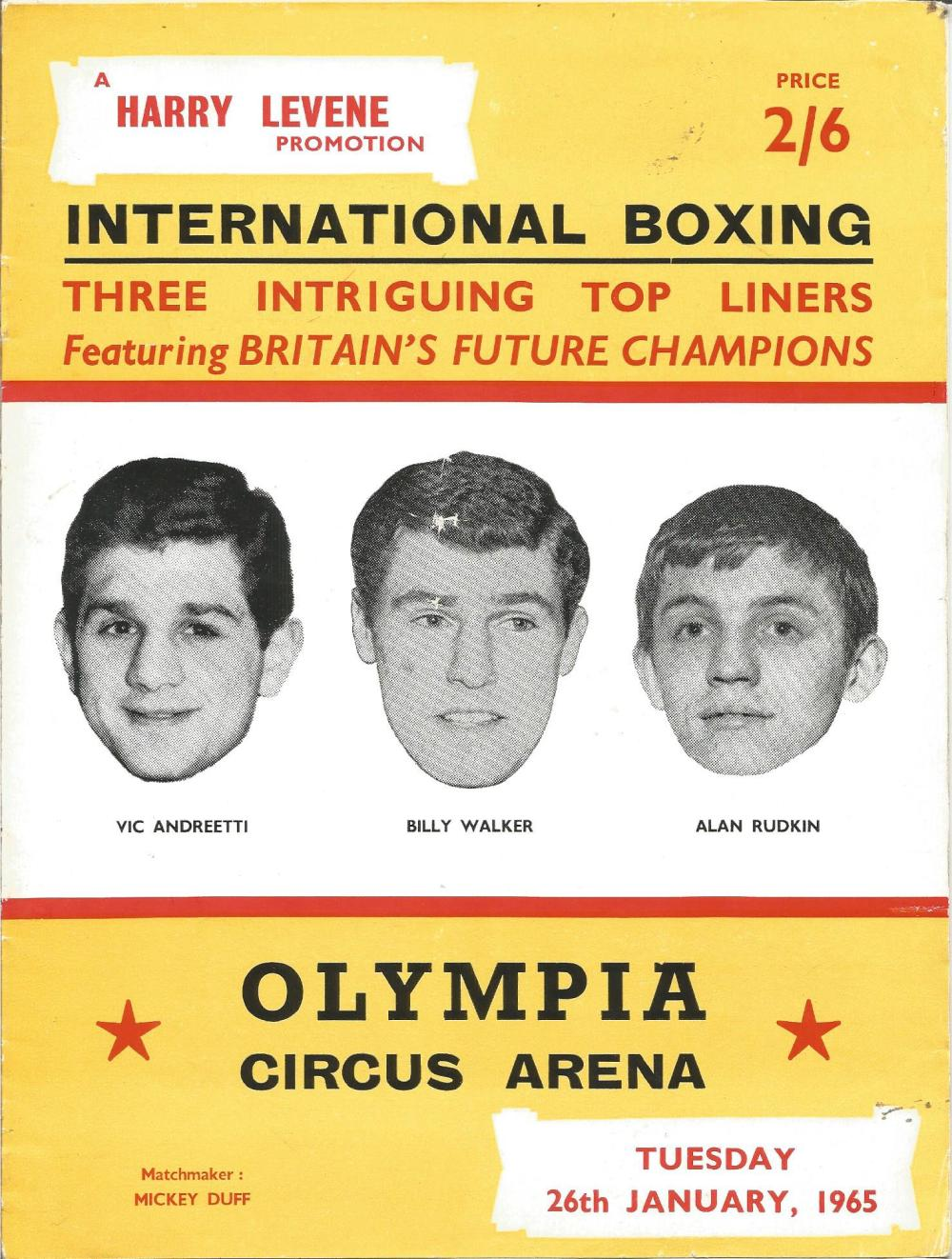 Boxing Vic Andreetti, Billy Walker and Alan Rudkin vintage fight programme Olympia Circus Arena 26th