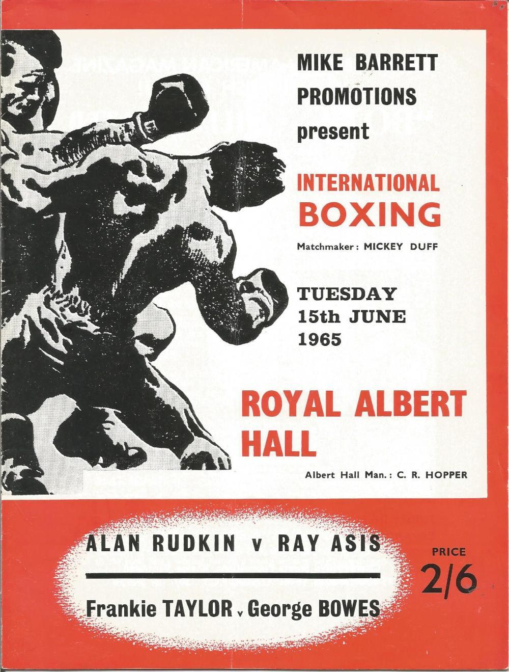 Boxing Alan Rudkin v Ray Asis vintage fight programme Royal Albert Hall 15th June 1965. Good