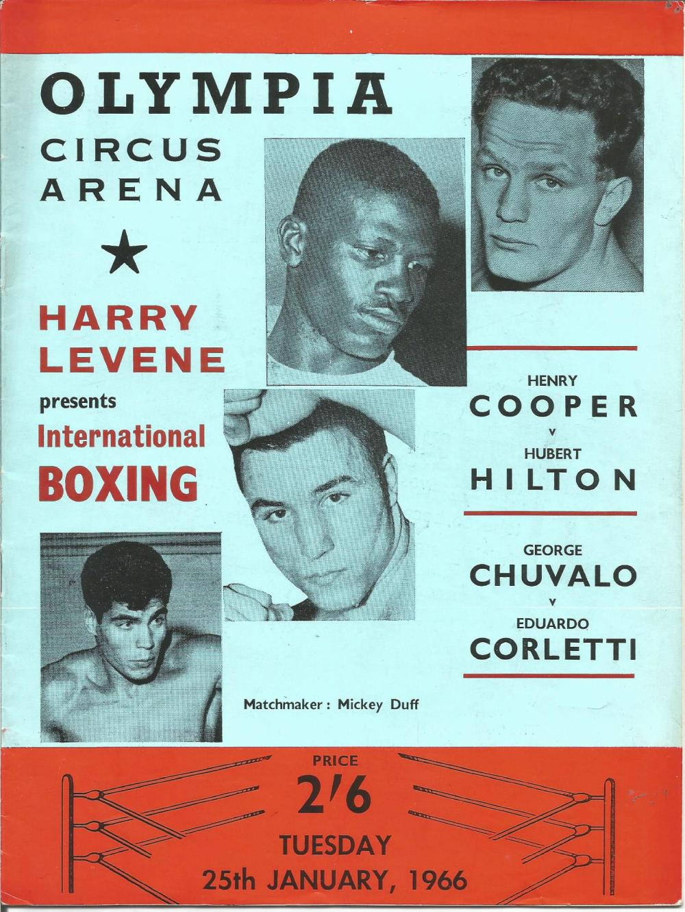 Boxing Henry Cooper v Hubert Hilton vintage fight programme Olympia Circus Arena 25th January