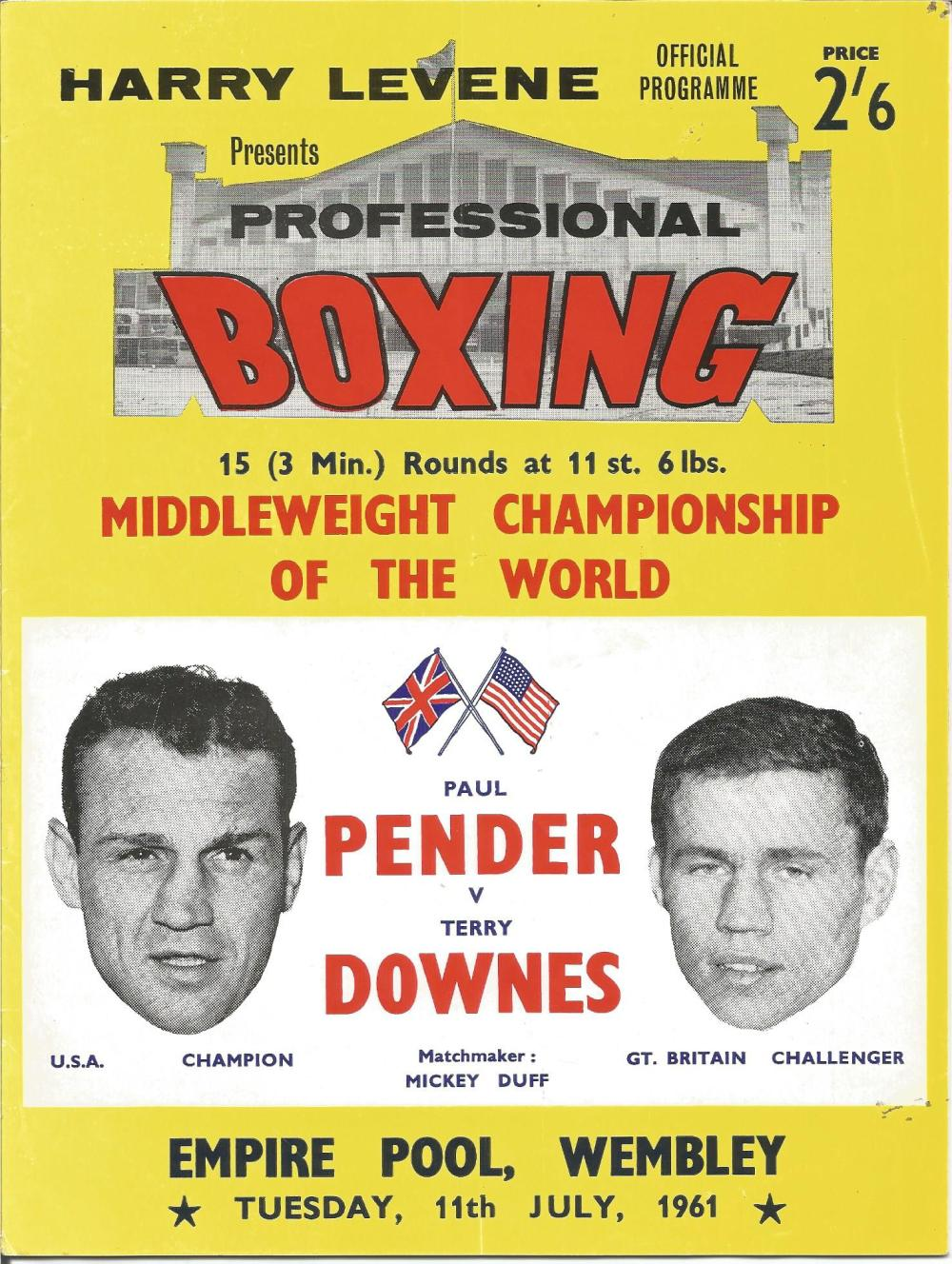 Boxing Paul Pender v Terry Downes Middleweight Championship of the World vintage fight programme
