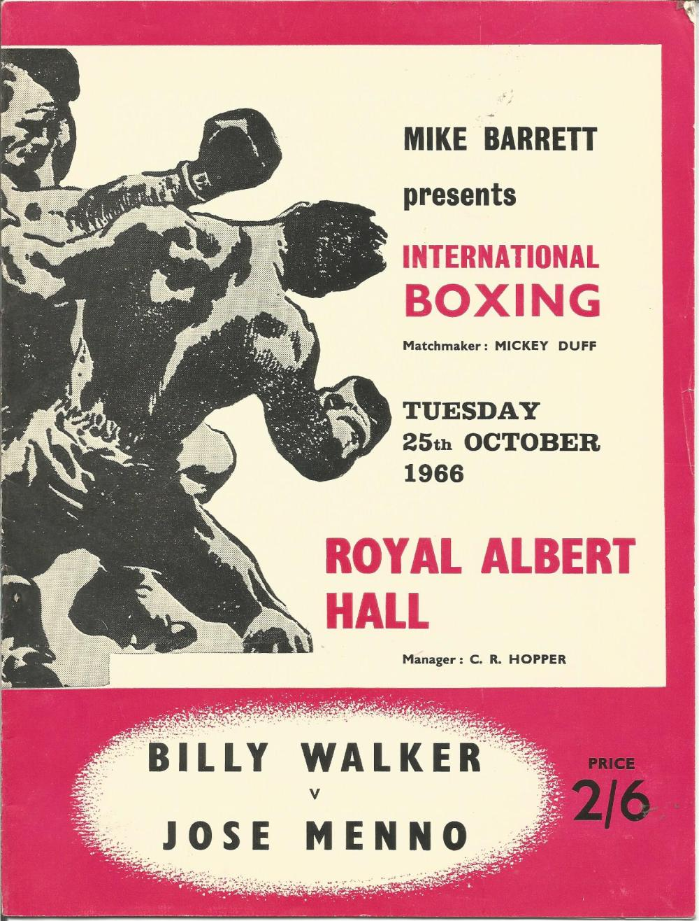Boxing Billy Walker v Jose Menno vintage fight programme Royal Albert Hall 25th October 1966. Good