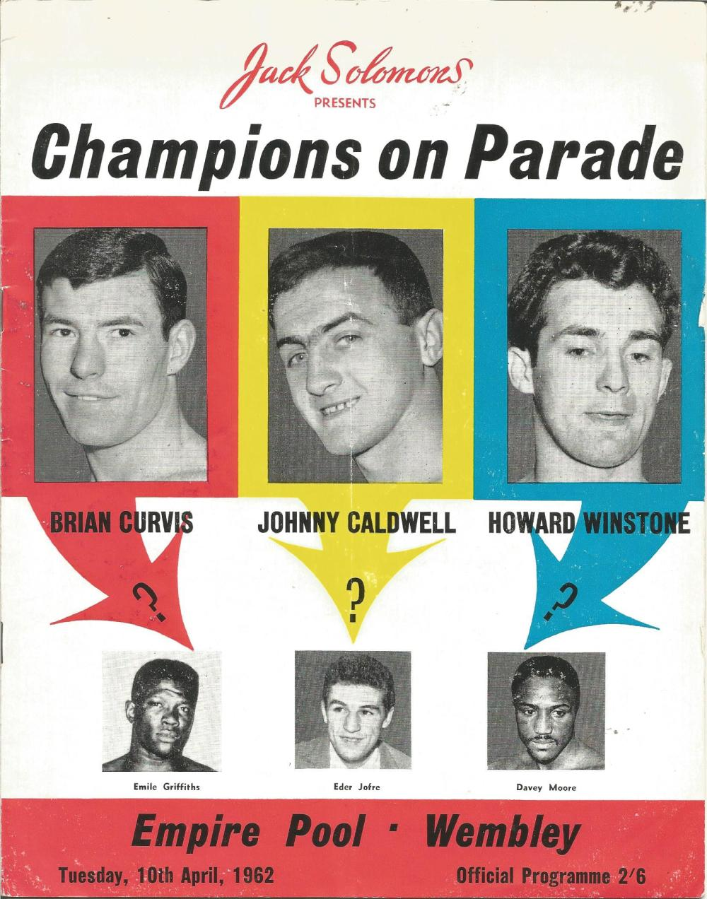 Boxing Champions on Parade vintage fight programme Empire Pool Wembley 10th April 1962. Good