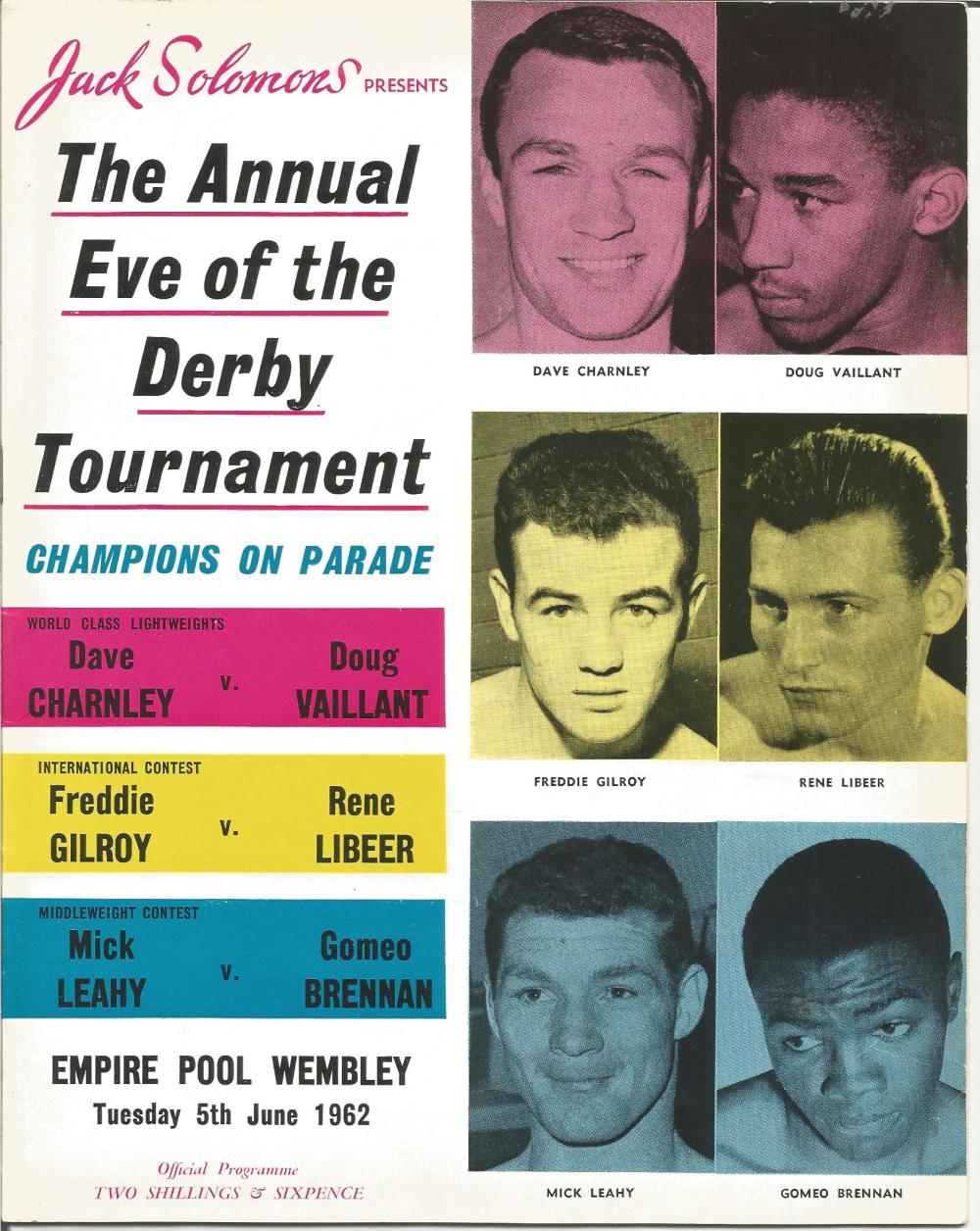 Boxing Champions on parade The Annual Eve of the Derby Tournament vintage fight programme Empire