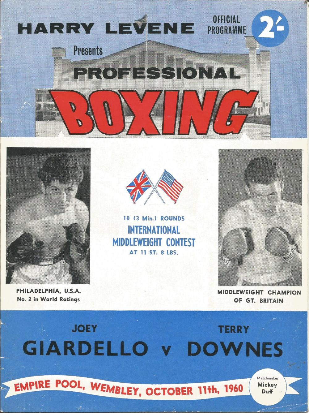 Boxing Joey Giardello v Terry Downes vintage fight programme Empire pool Wembley 11th October