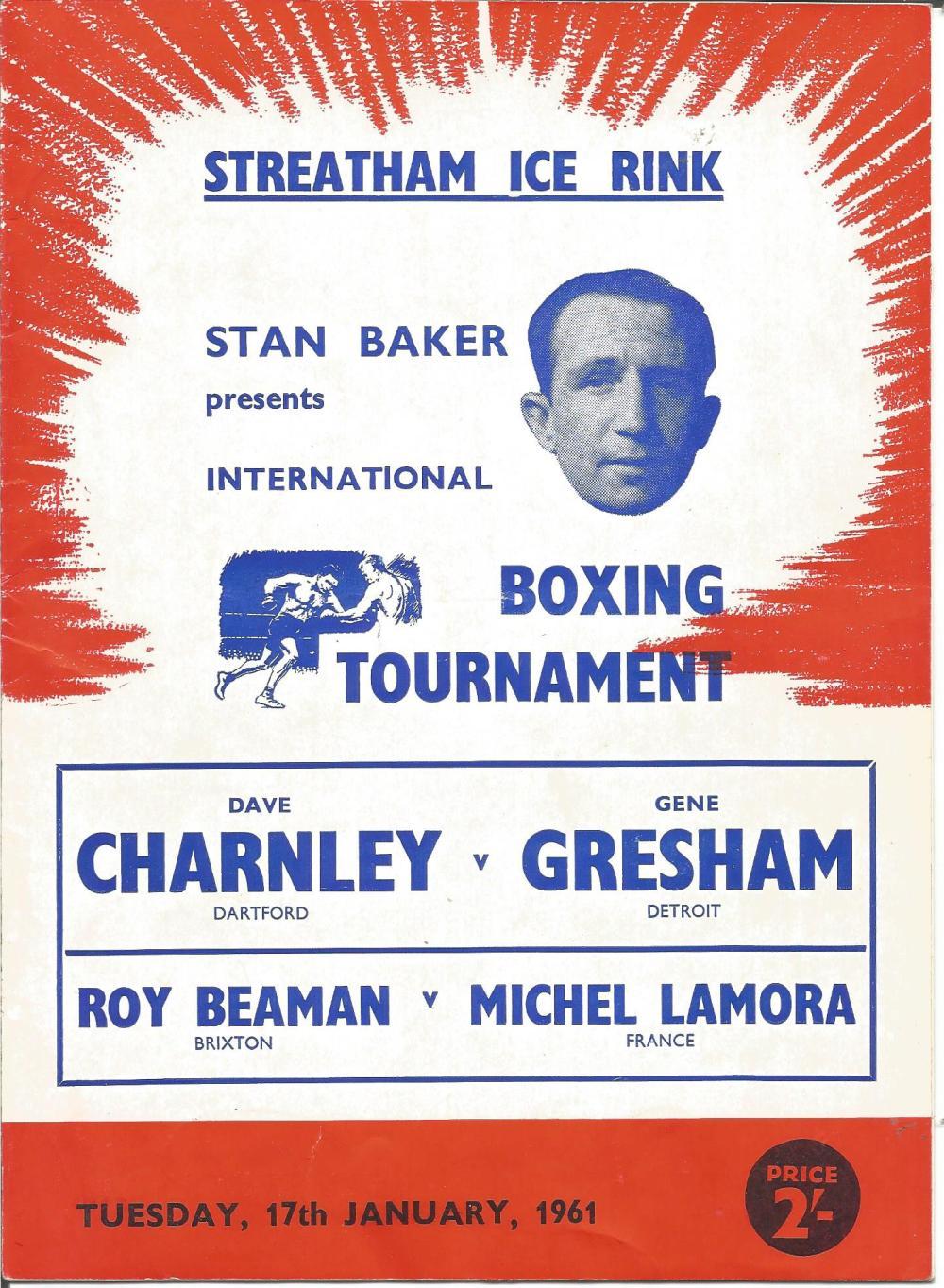 Boxing Dave Charnley v Gene Gresham vintage fight programme Streatham Ice Rink 17th January 1961.