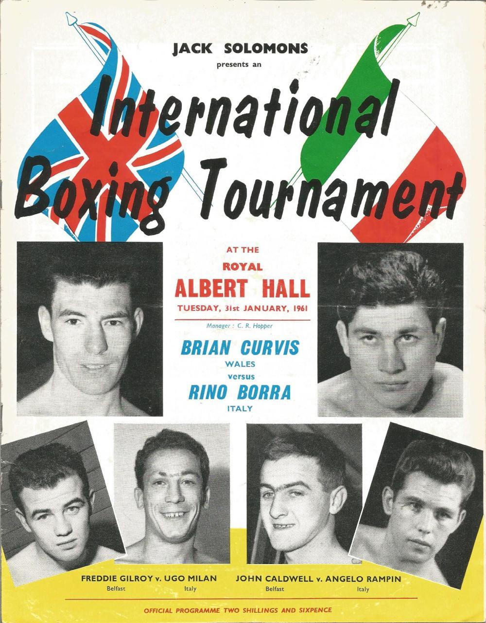 Boxing Brian Curvis v Rino Borra vintage fight programme Royal Albert Hall 31st January 1961. Good