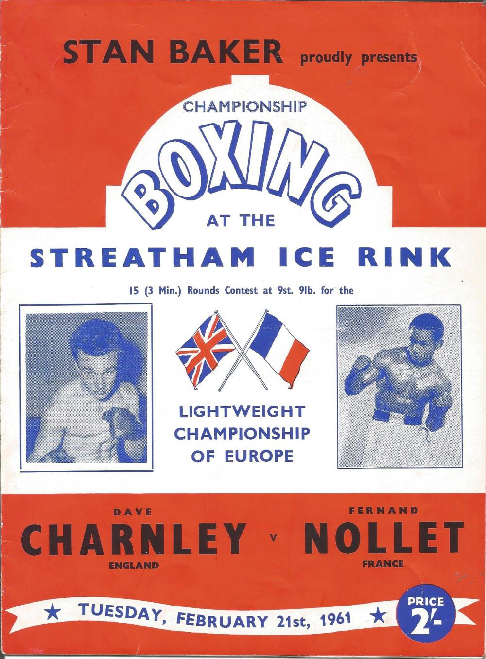 Boxing Dave Charnley v Fernand Nollet vintage fight programme Streatham Ice Rink 21st February 1961.