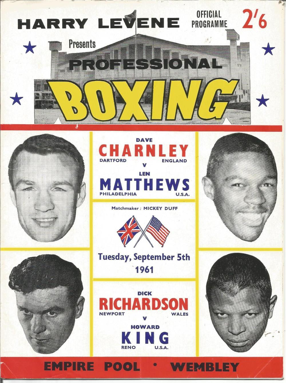 Boxing Dave Charnley v Len Mathews vintage fight programme Empire Pool Wembley 5th September 1961.