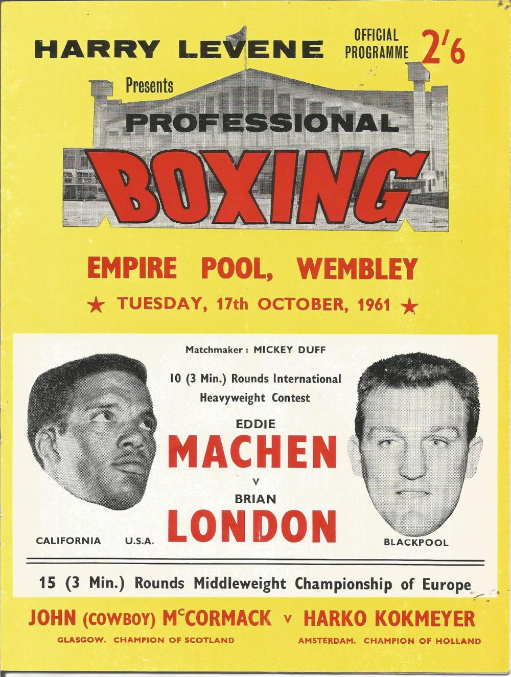Boxing Eddie Machen v Brian London vintage fight programme Empire Pool Wembley 17th October 1961.