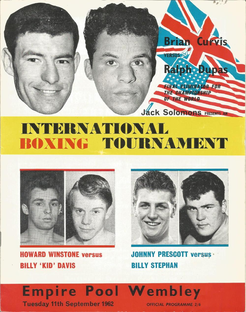 Boxing Brian Curvis v Ralph Dupas vintage fight programme Empire Pool Wembley 11th September 1962.