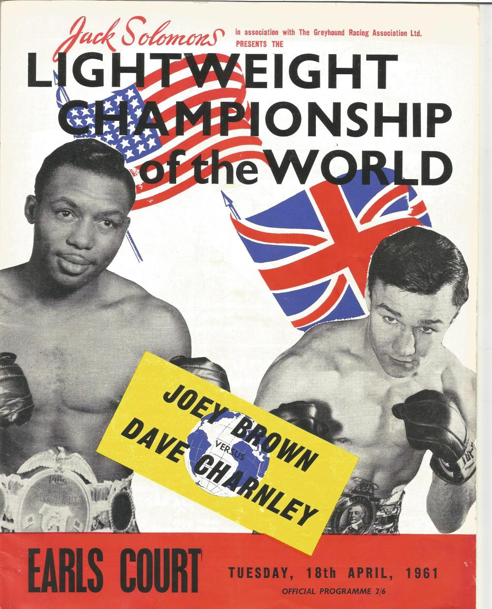 Boxing Joey Brown v Dave Charnley vintage fight programme Lightweight Championship of the World