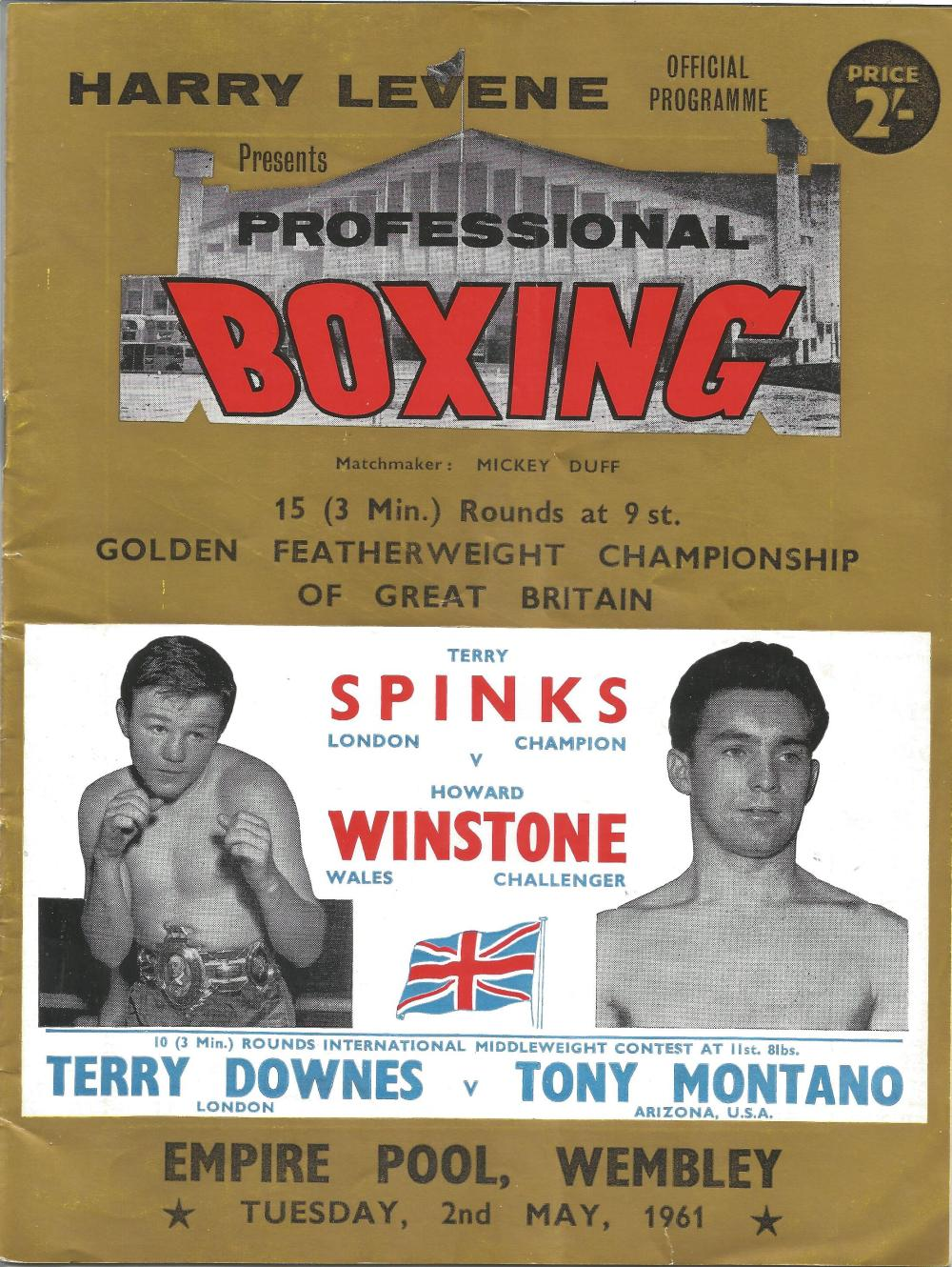 Boxing Terry Spinks v Howard Winstone vintage fight programme Golden Featherweight Championship of