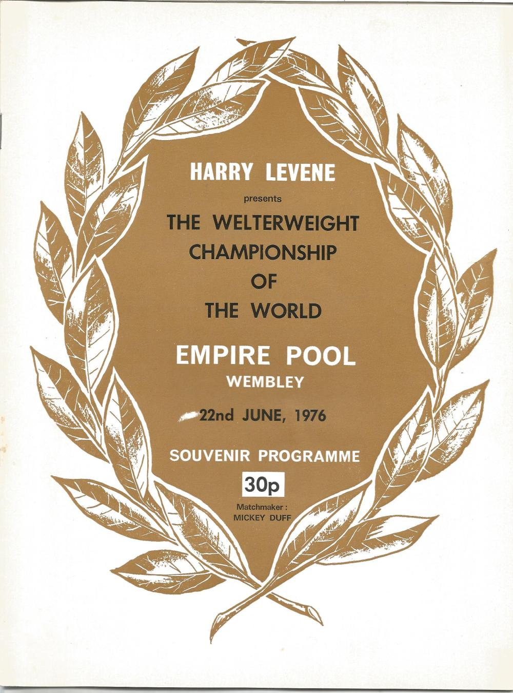 Boxing John H Stracey v Carlos Palomino vintage fight programme Welterweight Championship of the
