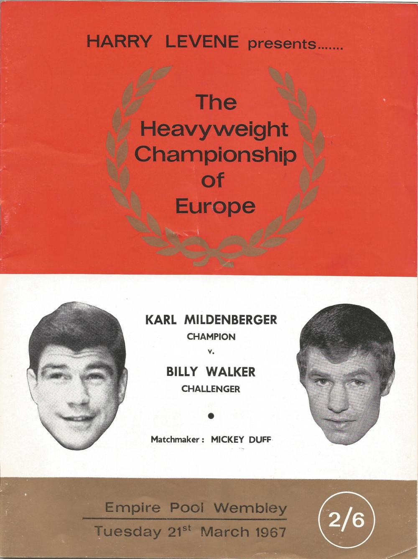 Boxing Karl Mildenberger v Billy Walker vintage fight programme Heavyweight Championship of Europe